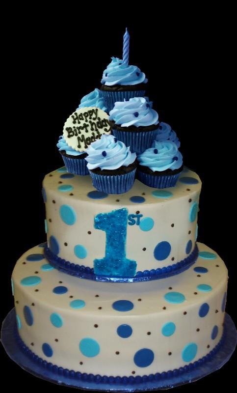 Blue Dots And Cupcakes 1st Birthday Cake White Buttercream Iced Round 2 Tiers Decorated
