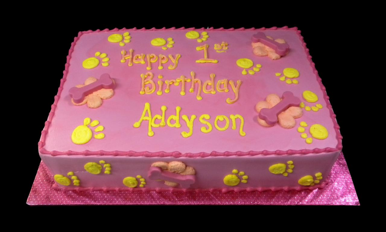 Puppy Dog Paw Prints 1st Birthday Cake Pink Buttercream Iced Sheet Decorated With