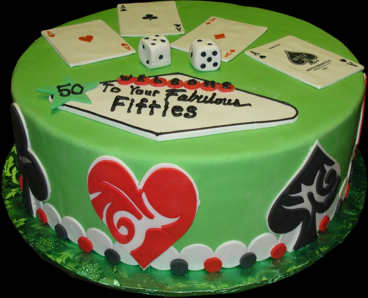 Fabulous 50s Birthday Cake Green Buttercream Iced Round Decorated In A Las Vegas
