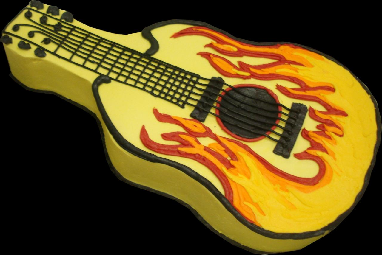 Flaming Guitar Birthday Cake Yellow Buttercream Iced Shaped Decorated With Flames