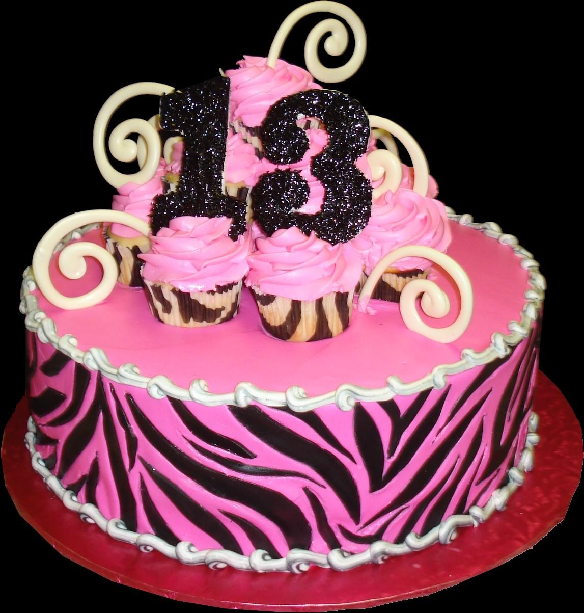 Zebra Pink 13th Birthday Cake Buttercream Iced Round Decorated With A Print