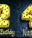Yellow 24th Birthday Cake,  Yellow buttercream iced, shaped cake decorated with black pearls. Everything on this cake is EDIBLE.