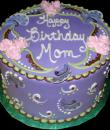 Purple Paisley Birthday Cake,  Purple buttercream iced, round decorated with edible paisley print, swirls, and roses.  Everything on this cake is EDIBLE.  (Serves 8-80 party slices)
